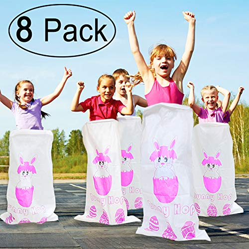 (Easter Bags ZALALOVA 8Pcs Potato Sack Race Bags Easter Parties Games for Girls Boys Kids Adults Birthday Family Games 24
