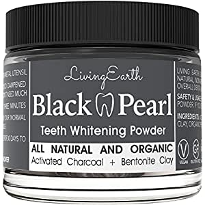 Black Pearl Activated Charcoal Teeth Whitening - Organic & All Natural - Remineralizing Tooth Powder - Anti-Bacterial - Made In USA - Glass Jar