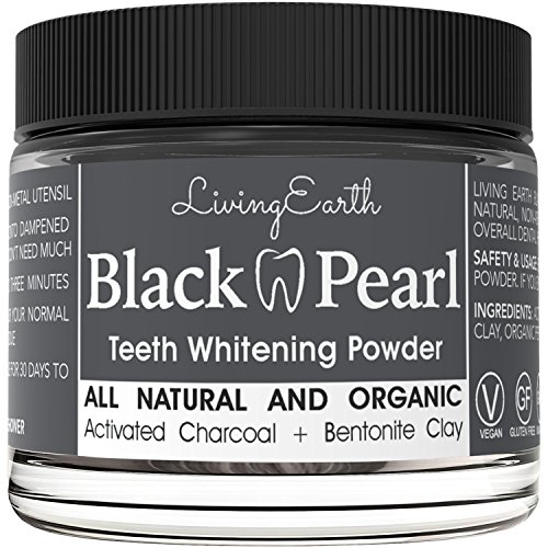 Black Pearl Teeth Whitening Activated Charcoal Toothpaste – Organic & All Natural – Remineralizing Tooth Powder – Anti-Bacterial – Made In USA – Glass Jar