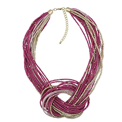 Bocar Rose Seed Beads Multilayer Chunky Bib Statement Knot Necklace -