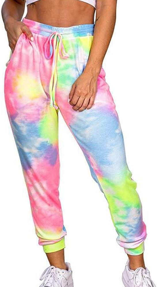 Mujer N Pantalones Sueltos Deportivos Para Mujer Tie Dye Impreso Home Loungewear Capri Jogger Running Pantalones Lounge Elasticted Waistband Pants Ropa Chillmeets Pl
