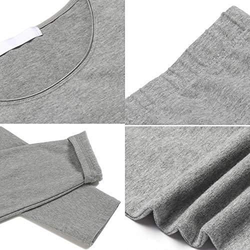 Ekouaer Thermal Underwear Women's Cotton Long Johns Set Scoop Neck Top & Bottom Pajama Winter Base Layering Set, Grey, Large by Ekouaer (Image #5)