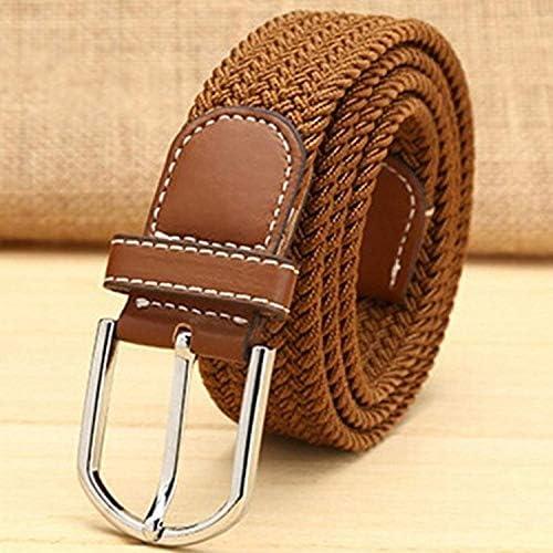 Men club 伸縮性のある織りベルトストレッチベルトバックル付きの弾性ベルト毎日使用するためのアクセサリー茶色1個便利で実用的