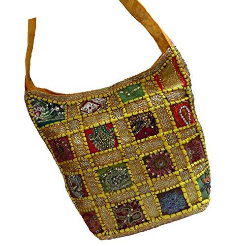 Embroidered Sequin Patchwork Indian Sari Throw Decorative Sling Cross body Shoulder Bag, Boho Hobo Vintage Bag,