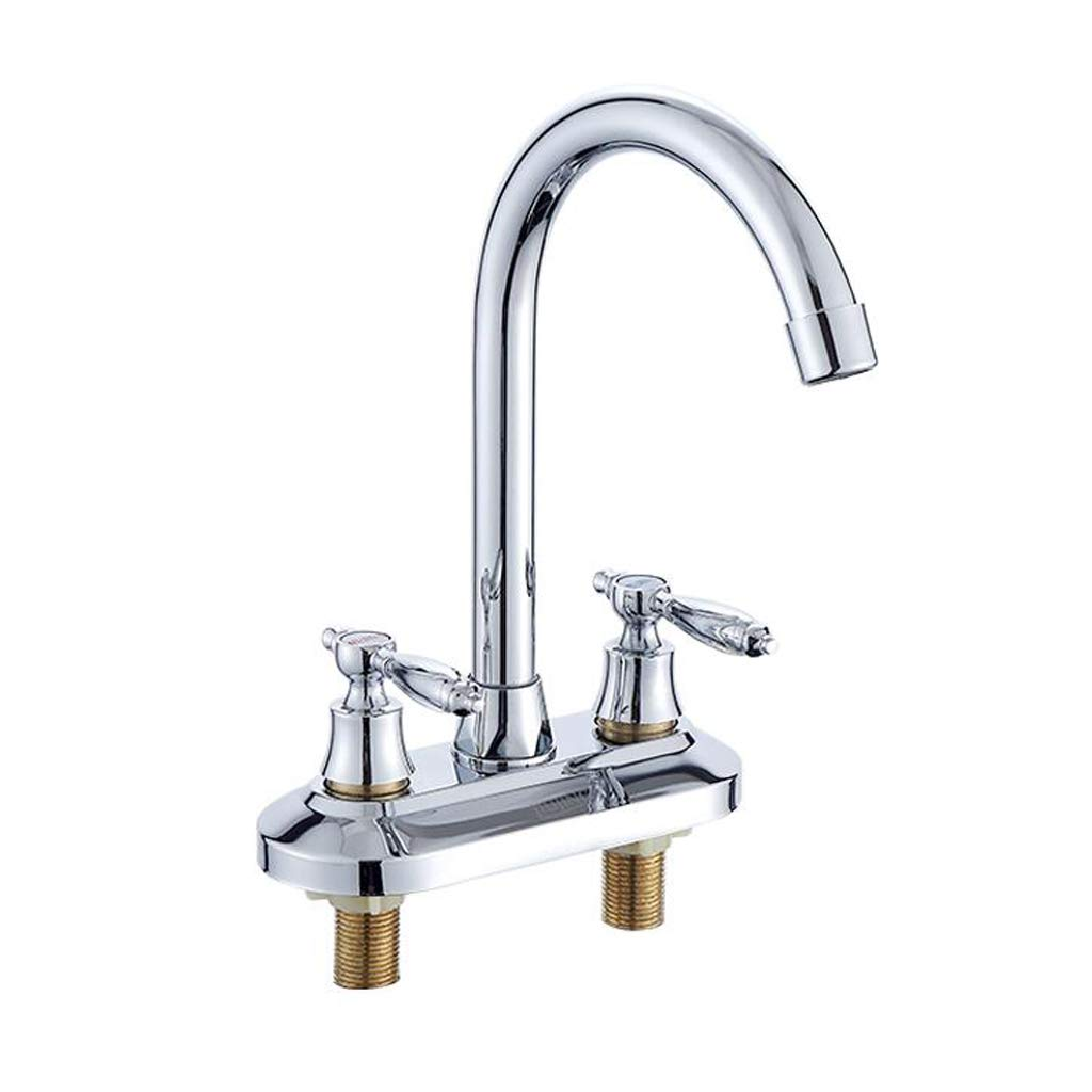 BHJqsy Bathroom Fixtures Bathroom double double hole hot and cold basin faucet, above counter basin wash basin brass mixing valve Stainless Steel