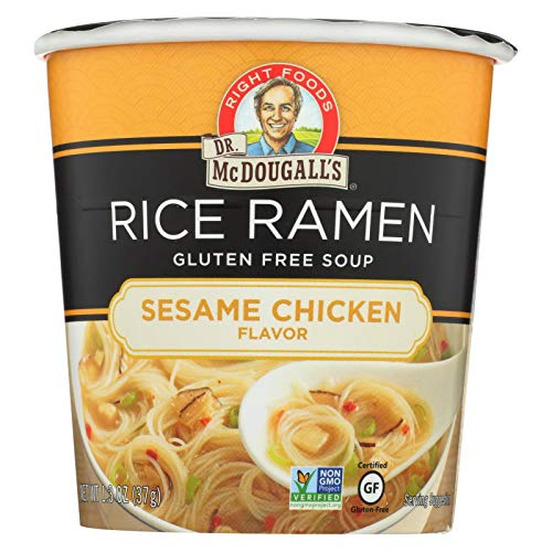 Dr McDougalls Sesame Chicken Rice Noodle Asian Soup, 1.3 Ounce - 6 per - Pea Free Gluten Split Soup