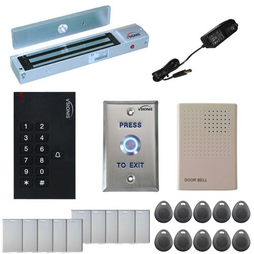 VSIONIS FPC-5326 One door Access Control Outswinging door 600lbs Maglock with VIS-3002 Indoor Use only Keypad / Reader Standalone no software EM Card Compatible 500 users kit by Visionis
