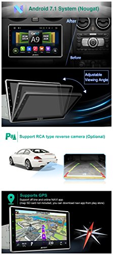 """10.1"""" Android 7.1 2GB 32GB Double Din Car Stereo Radio with Bluetooth, GPS Navigation - Support Fastboot, 3G WIFI, USB SD, MirrorLink, Backup camera, AUX, Subwoofer, OBD2, DVR by PUMPKIN (Image #1)"""