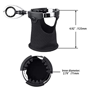 LEXIN LX-C3 Motorcycle Cup Holder with 360°swivel ball-mount, Large Handlebar Drink Holder with Basket, Metal Bike Mount for Motorcycle Passenger Fits Handlebar 0.87 inch to 1.25 inch (Tamaño: LX-C3)