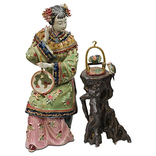 - ChinaFurnitureOnline Chinese Porcelain Doll - Sitting with Bird Cage
