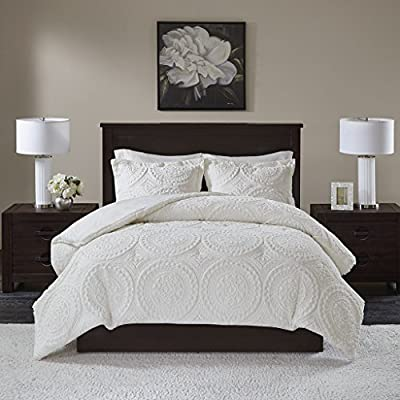 Madison Park Arya Comforter Mini Set, Ivory -  All over medallion embroidered plush comforter set that will keep you warm throughout cold weather  Set includes comforter and matching shams (1 sham in Twin)  Fabric and filling are both polyester and hypoallergenic - comforter-sets, bedroom-sheets-comforters, bedroom - 51JArzl5I2L. SS400  -