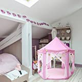 Outdoor Indoor Princess Castle Play Tents,Shayson Large Playhouse Kids With Warm Soft Blanket Smile Tent Light, 40 Small Star Lights,6 Middle Hang Star Led Light,6 Large Hang Star Led Light For Festival Fairy Princess Castle Tent, Newest Design, Extra Large Room (Single pink tent)