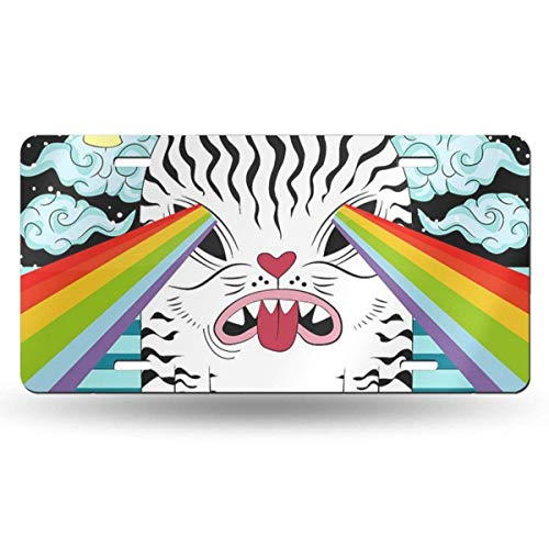 CS-license plate Weird Cat Attack Funny Metal License Plate 6