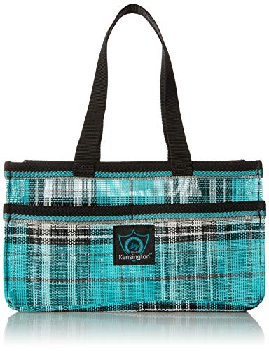 (Kensington Horse Grooming Tote Bag -  Handy Upright Stow Away in Vibrant Plaid Designs - Very Durable with Lots of Storage Compartments - 12