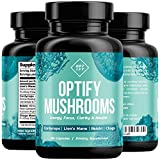OPTIFY Mushroom Supplement - Lions Mane, Cordyceps, Reishi & Chaga - Nootropic Brain Supplement & Immune System Booster for Natural Energy, Stress Relief, Focus, Memory, Wellness - 90 Capsules Larger Image