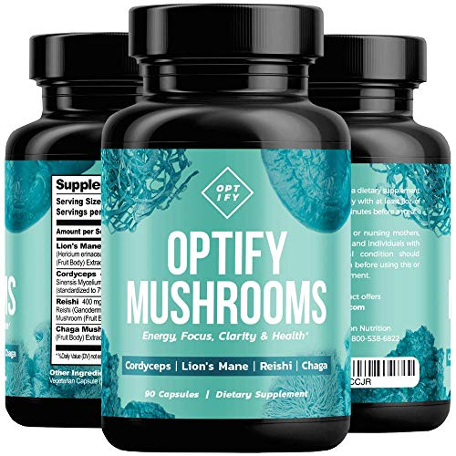 (OPTIFY Mushroom Supplement - Lions Mane, Cordyceps, Reishi & Chaga - Nootropic Brain Supplement & Immune System Booster for Natural Energy, Stress Relief, Focus, Memory, Wellness - 90 Capsules)