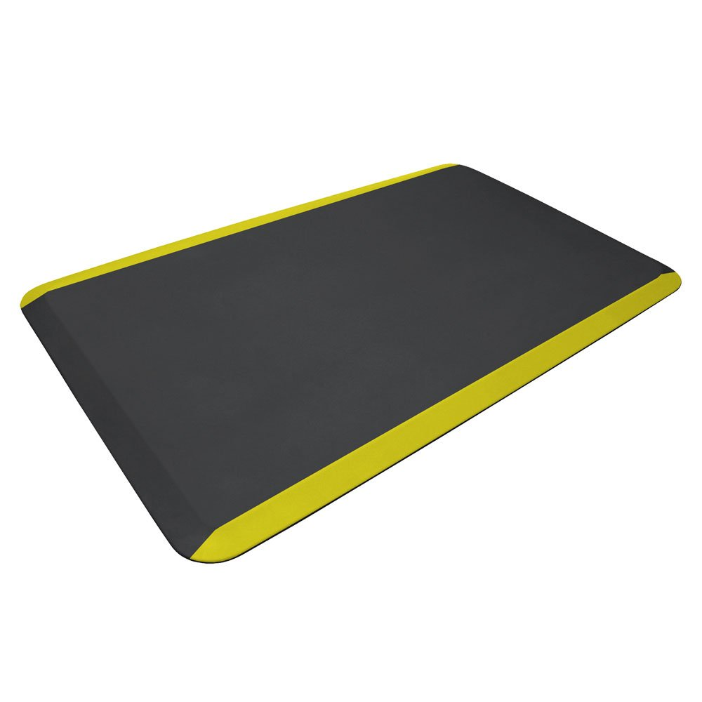 "NewLife by GelPro Anti Fatigue Mat: Eco-Pro Foam Anti-Fatigue Comfort Mat - Standing Desk Pad - Commercial & Industrial Floor Mats - 24"" x 36"" Non Slip Ergonomic Mat - Black with Yellow Safety Stripe"