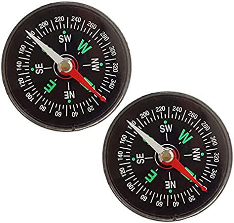 QINXI 2 PCS Oil Filled Button Compass Liquid Filled Mini Pocket Compass for Camping, Hiking, Boating, Survival Kits