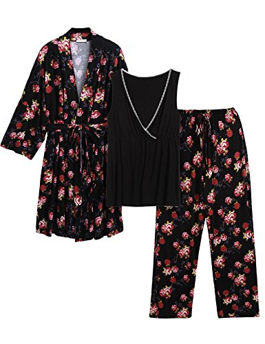 Adidome Women Solid Maternity Nursing Robe Tank Tops Pants with Belt Pajama Set