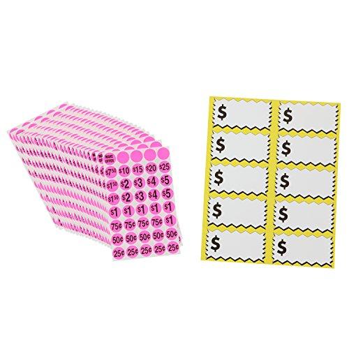 Sunburst Systems 7035 Priced Garage Sale Stickers, 1,000 Count Pink