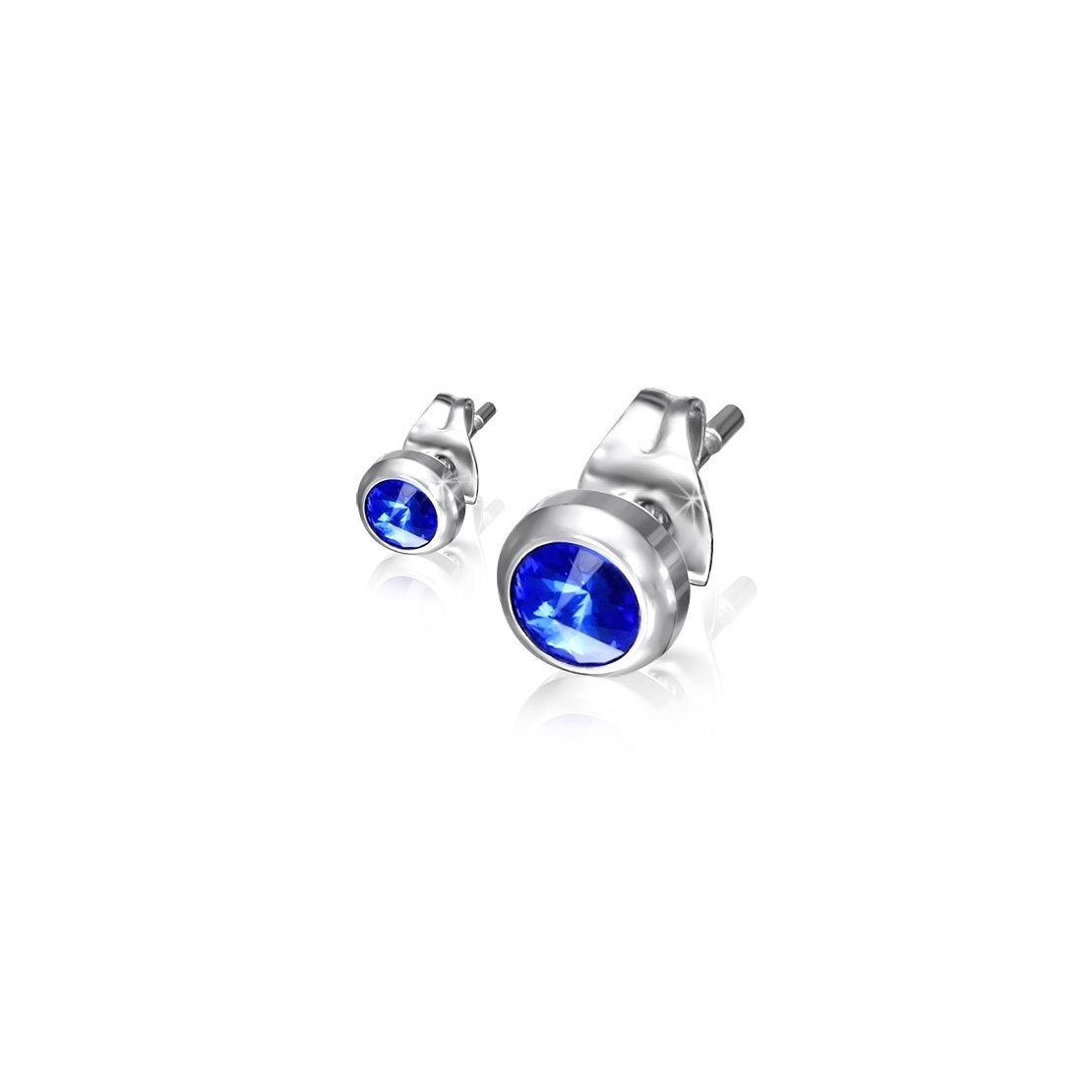 Stainless Steel Bezel-Set Round Circle Stud Earrings with Capri Blue CZ pair