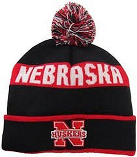 NCAA Licensed Cuffed Pom Beanie Hat Cap Lid (Nebraska Cornhuskers Red)