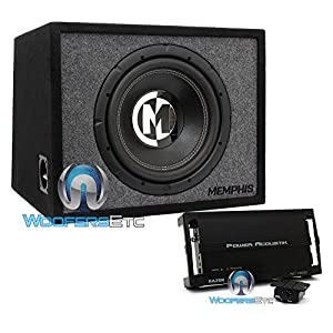 "pkg Memphis 15-PRXE12S 12"" 600W Max 2-Ohm Enclosed Subwoofer with Power Acoustik RZ1-1500D Monoblock 1500W Max Class D RAZOR Series Full Range Amplifier"