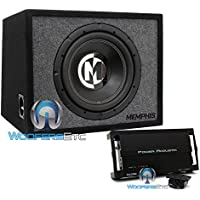 pkg Memphis 15-PRXE12S 12 600W Max 2-Ohm Enclosed Subwoofer with Power Acoustik RZ1-1500D Monoblock 1500W Max Class D RAZOR Series Full Range Amplifier
