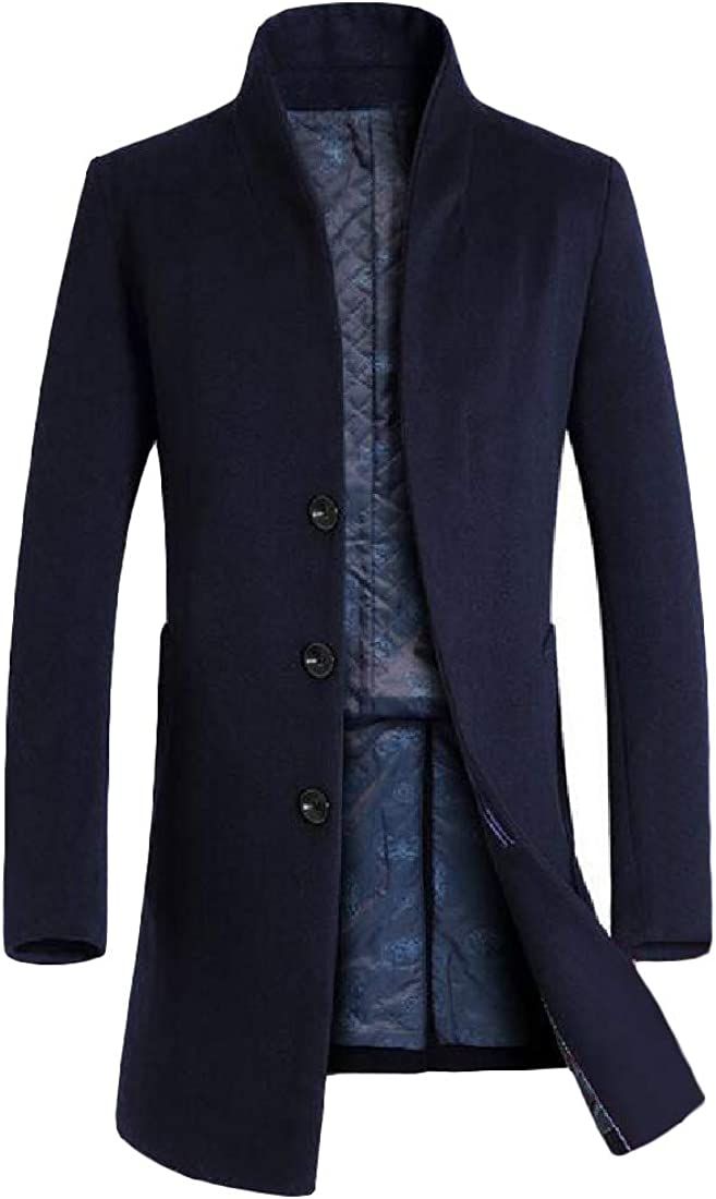 GloryA Mens Outwear Business Thick Woolen Blend Slim Fit Mid-Long Pea Coat