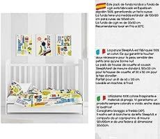 SLEEPAA Funda nordica cuna 120x60 cm + Funda almohada 30x50 cm Varios Estampados Fabricada en España (Big Apples)
