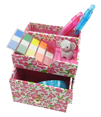 Floral Pencil Pen Holder with 3 Compartments Paperboard 4 x 3.5 Pink