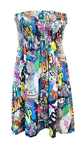 Women Sheering Gather Bandeau Boob Tube Printed Top Mini Dress (ML, BANG (Gather Tube Top)