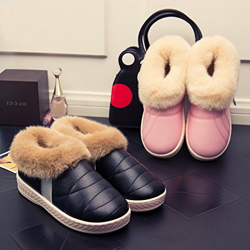 CWAIXXZZ pantofole morbide Gli uomini e le donne di cotone impermeabile pantofole femmina inverno caldo alta aiutare pacchetto pu con parte superiore in pelle per il vello di mezza età home interno lu