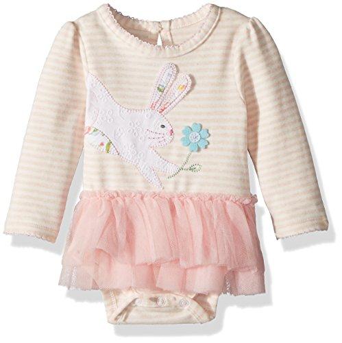 Mud Pie Baby Girls Easter Bunny Tutu Long Sleeve One Piece Crawler, Pink, 3-6 (One Piece Crawler)