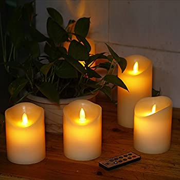 """Comenzar Flameless Candles,led Candles Realistic Moving Set Of 5(h4 4"""" 4"""" 6"""" 6"""" Xd3.25) Flickering Candles With Remote Timer(batteries Not Included) 9"""