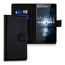 kwmobile Elegant synthetic leather case for the Microsoft Lumia 950 XL with magnetic fastener and stand function in black