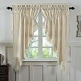 Cheap Piper Classics Ruffled Chambray Natural Prairie Curtain, Gathered Swag, 63x36x18, Farmhouse Style