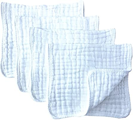 "Muslin Burp Cloths 4 Pack Large 20/"" by 10/"" 100/% Cotton 6 Layers Extra Absorbent"