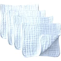 """Muslin Burp Cloths 4 Pack Large 20"""" by 10"""" 100% Cotton 6 Layers Extra Absorbent..."""