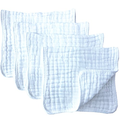 "Muslin Burp Cloths 4 Pack Large 20"" by 10"" 100% Cotton 6 Layers Extra Absorbent and Soft"