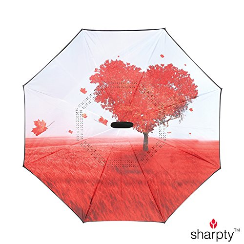 Sharpty Inverted Umbrella, Umbrella Windproof, Reverse Umbrella, Umbrellas for Women with UV Protection, Upside Down Umbrella With C-Shaped Handle (Love Tree) by Sharpty (Image #1)