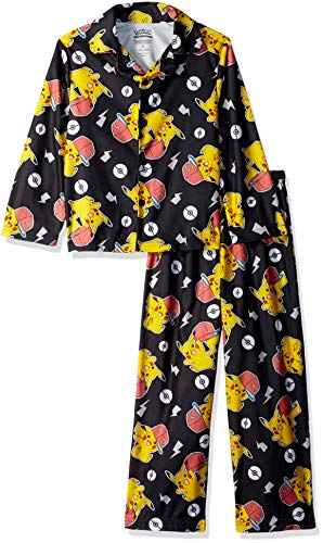 2 Piece Coat Pajamas - Pokemon Boys' Little Pikachu 2-Piece Pajama Coat Set, Lightning Cool, 4