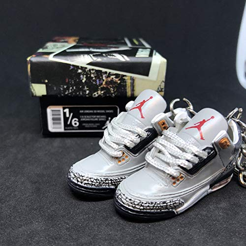 Pair Air jordan III 3 Retro Cement Cool Grey Yellow LS Sneakers Shoes 3D Keychain 1:6 Figure + Shoe Box