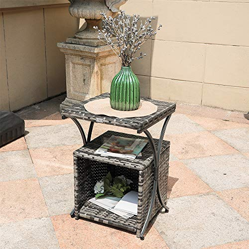 OC Orange-Casual 2 Pcs Patio Wicker Nesting Tables Outdoor Sofa Snack End Side Table | Storage Function | Garden Lawn Living Room, Dark Grey ()