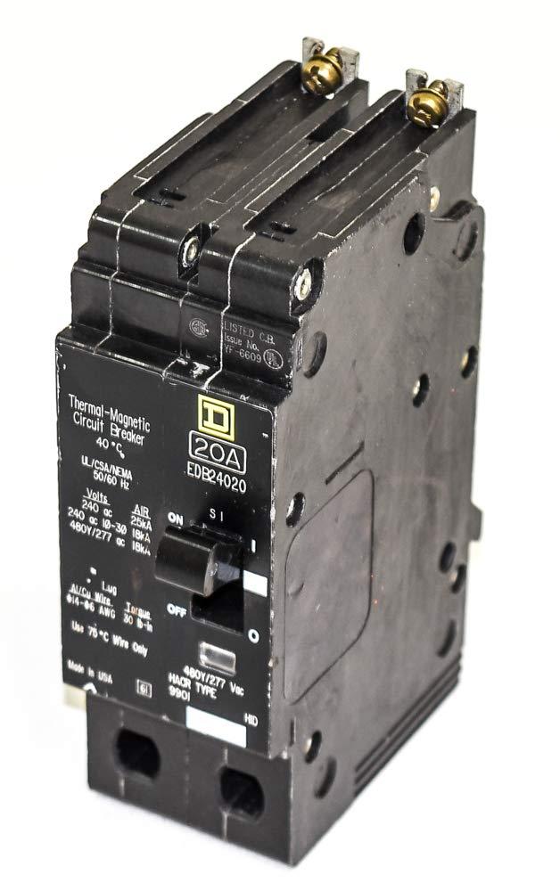 Square D EDB24020 EDB Type Circuit Breaker, 20-Amp, 2-Pole, 480Y/277V by Square D