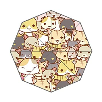 Bonito Paraguas Plegable de Kawaii Lovely Kitty Icon Face Pussy Mog único patrón artístico Duradero