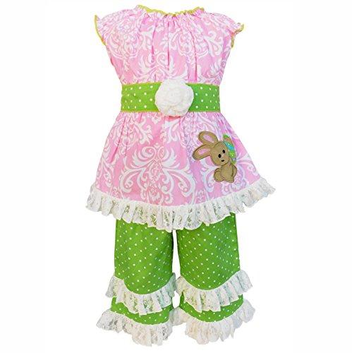 AnnLoren Girls 11-12 Boutique Damask Pastel Pink Easter Bunny Tunic & Capri