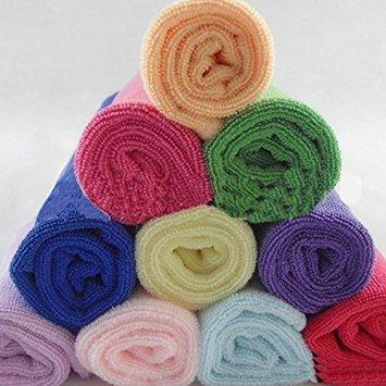 10 Pcs Candy Color Practical Soft Microfiber Face Hand Cloth Towel 25x25cm DAEDALUS