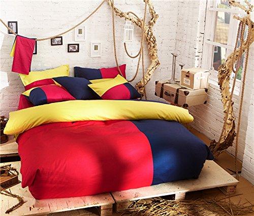Barcelona Style Red Bedding Set Teen Bedding College Dorm Bedding Duvet Cover Pillow Sham Flat Sheet Gift Idea, Full Size