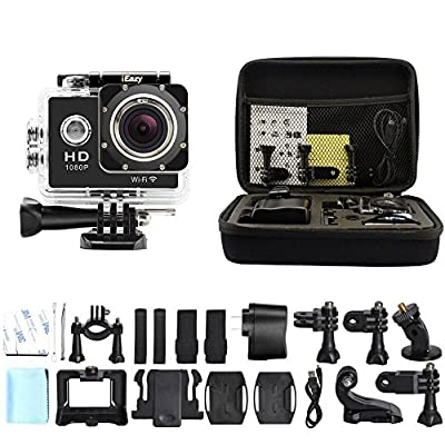 iEazy WIFI 1080P Full HD Sports Camera 1.5' Screen Waterproof 170°Degree Ultra-wide Angle Lens DV Action Mini Camcorder + Shockproof Carrying Bag